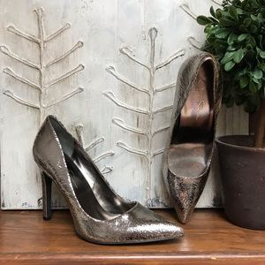 Jessica Simpson metallic silver crinkled heels